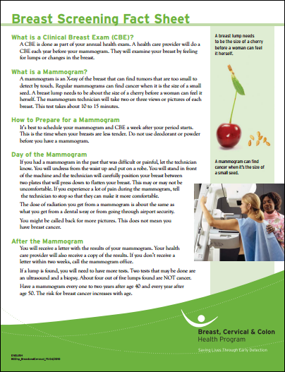 Breast screening facts and pap test fact sheet