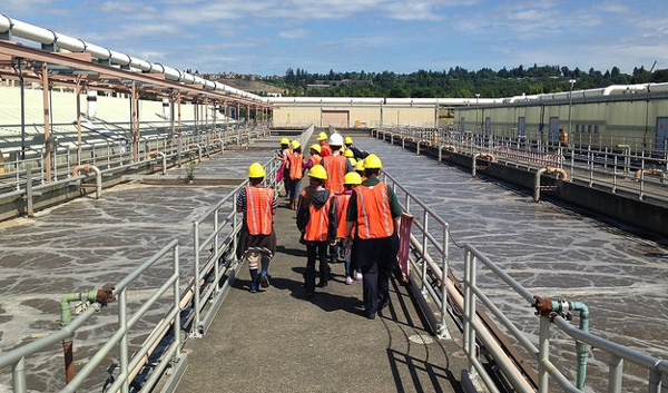 Students on tour of treatment plant