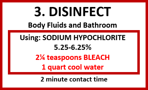 Disinfectant label for body fluids and bathroom