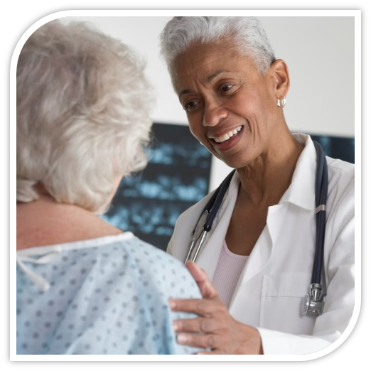 Health care provider with  an elder patient