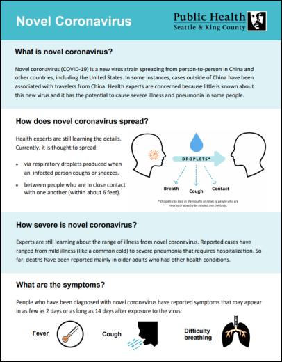 Novel coronavirus fact sheet
