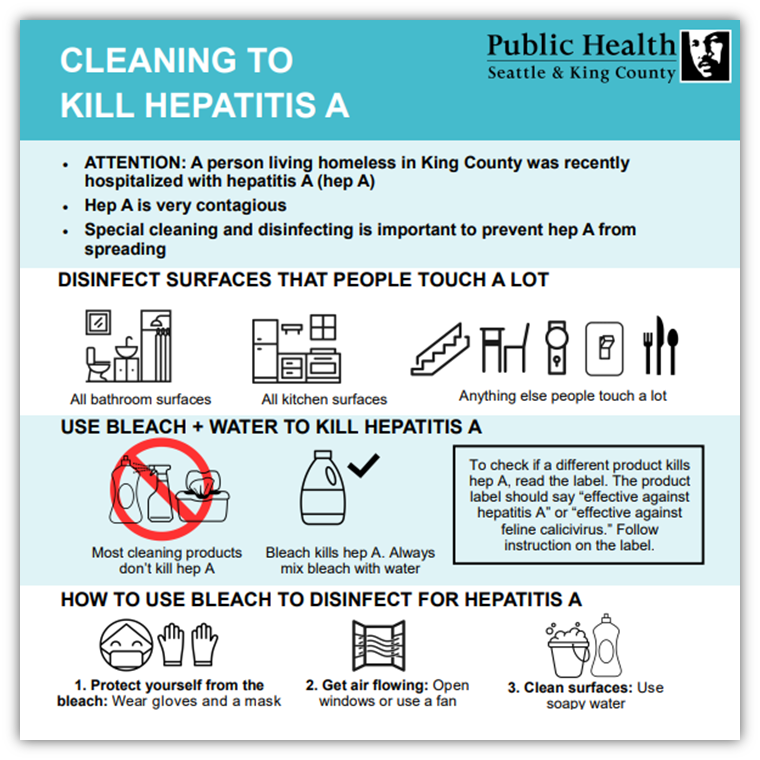 Cleaning to kill Hepatitis A