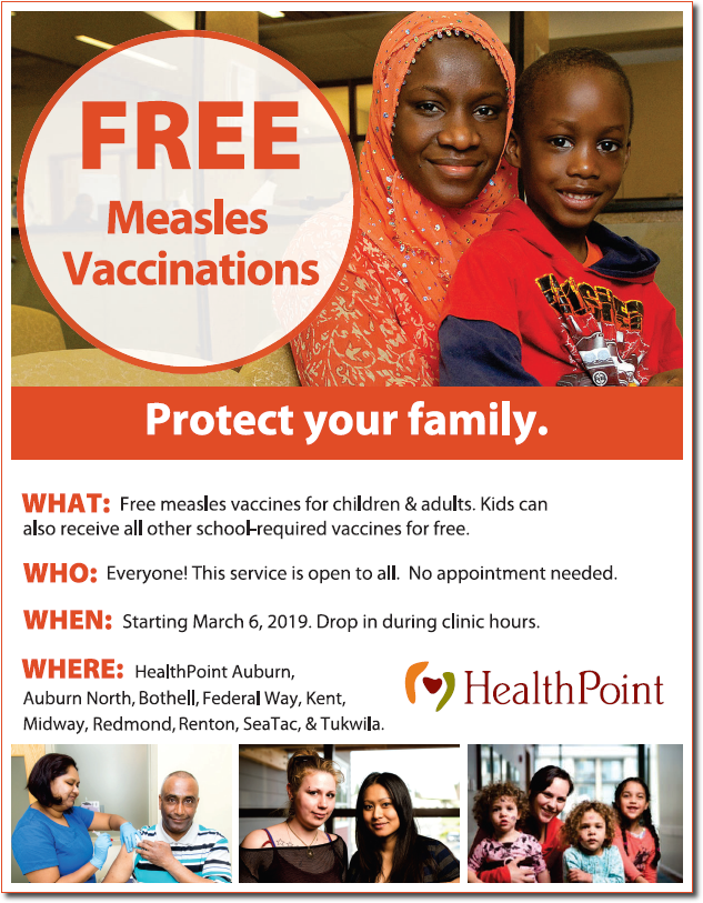Free measles vaccine from HealthPoint Community Health Center
