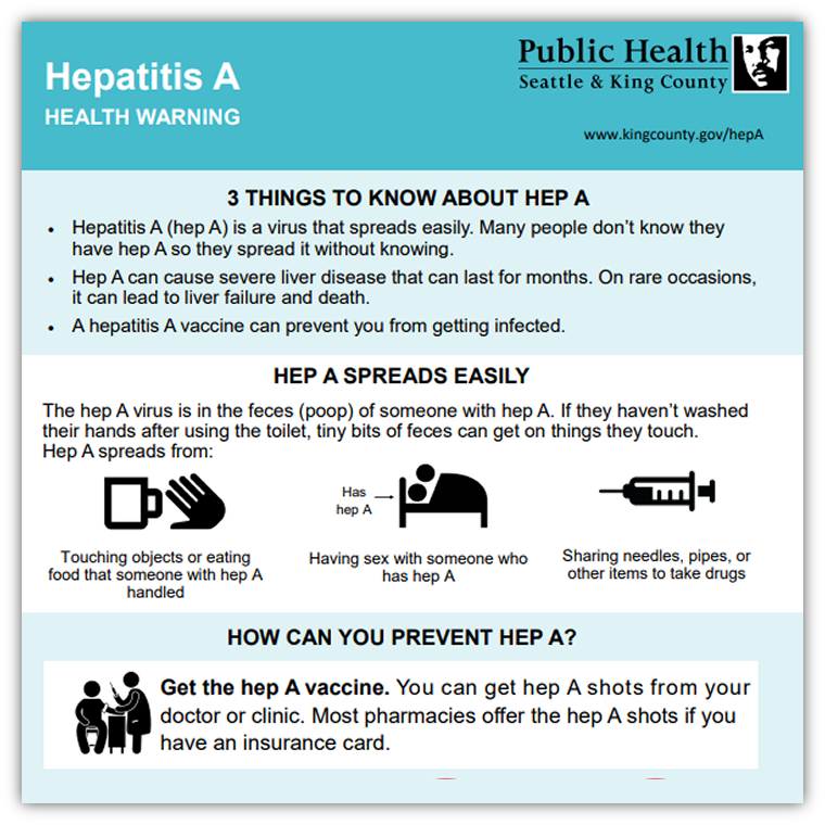 Hepatitis A Health Warning infographic for general public
