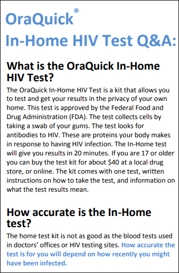 OraQuick® In-Home HIV Test Q&A