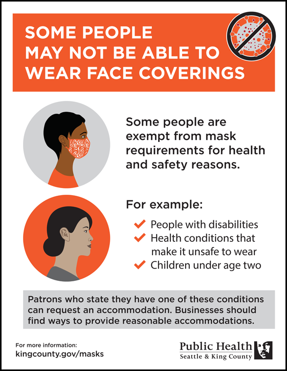 Some people may not be able to wear face coverings