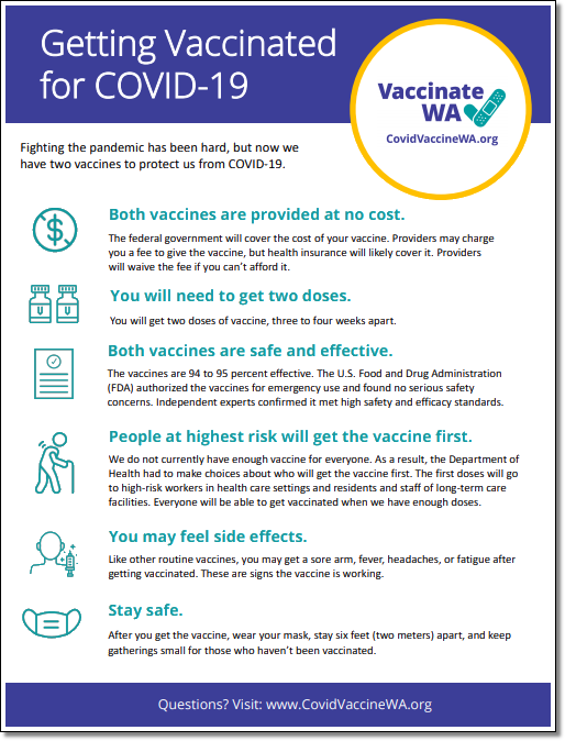 Getting Vaccinated for COVID-19 (from WA State Dept. of Health)