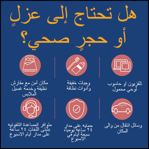Isolation and quarantine support inforgraphic in Arabic