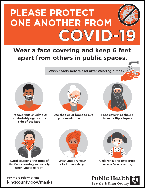 Protect one another: Wear a face covering and keep 6 feet apart from others in public spaces.