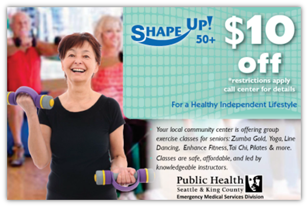 Shape Up! $10 off coupon for local senior community centers