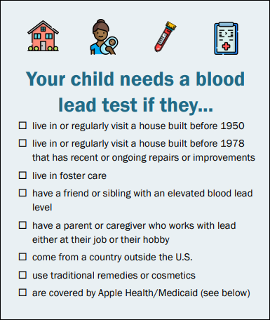 Your child needs a blood test if they...
