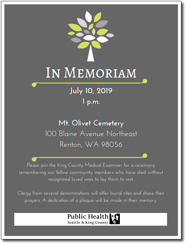 2019 King County Indigent Burial Service flyer
