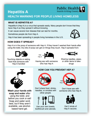 How to prevent from getting Hepatitis A for people living homeless