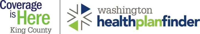 Coverage is Here King County and Washington Healthplanfinder logos
