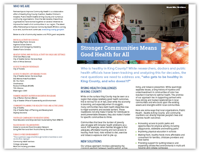 Flyer: Stronger Communities Means Good Health for All