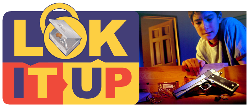 LOK-IT-UP logo and boy accessing unlocked handgun
