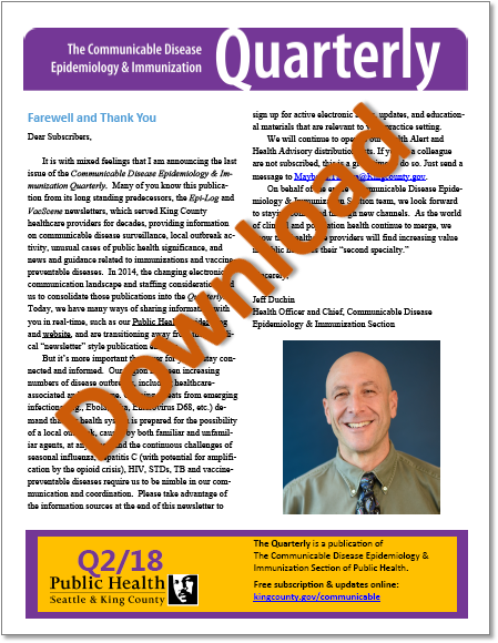 Communicable Disease Epidemiology & Immunization Quarterly coverpage