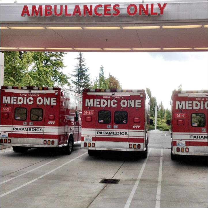 Three King County Medic One trucks