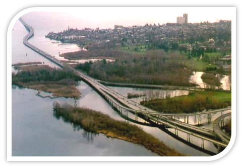Image of the I-520 bridge from Seattle to the Eastside featuring a Health Impact Assessment study