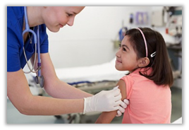 health provider giving immunizations to child patient