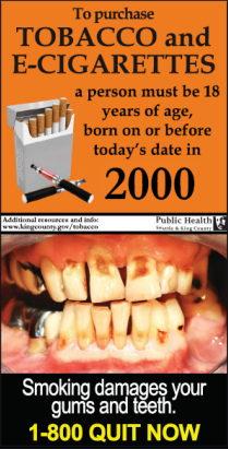 Born before date sign showing smoking effects on teeth