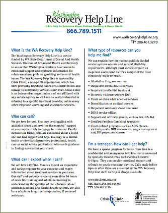 Washington Recovery Help Line flyer