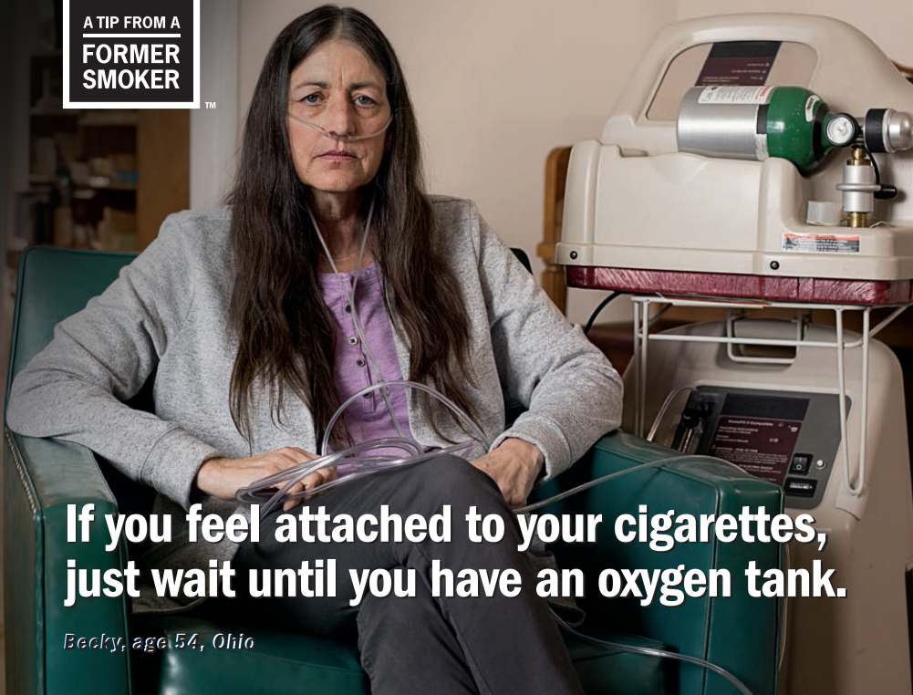 Becky started smoking cigarettes in high school to fit in. She smoked for many years and at age 45, Becky was diagnosed with chronic obstructive pulmonary disease (COPD)—a serious lung disease.