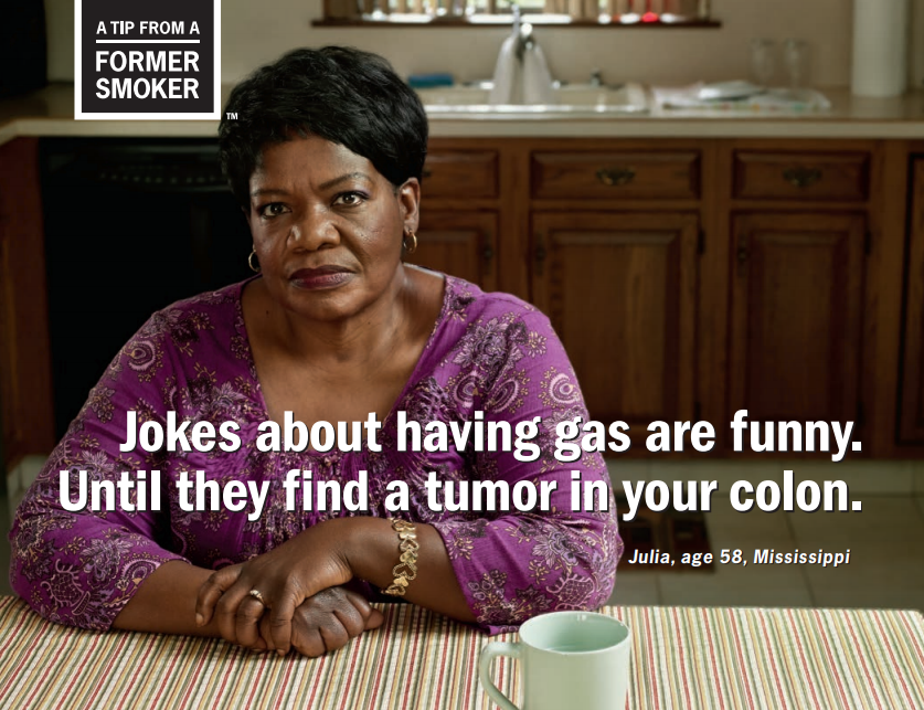 Julia: Jokes about having gas are funny. Until they find a tumor in your colon.