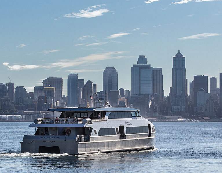 photo: Water Taxi with Seattle skyline
