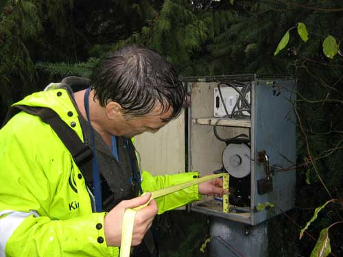 Photo of man in rain gear inspecting a stream flow gage