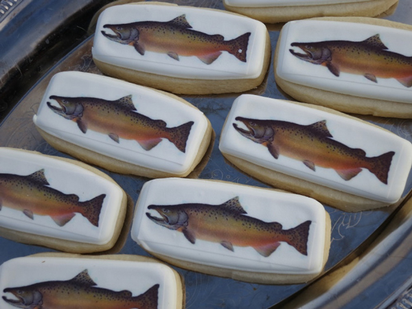 Salmon-themed cookies