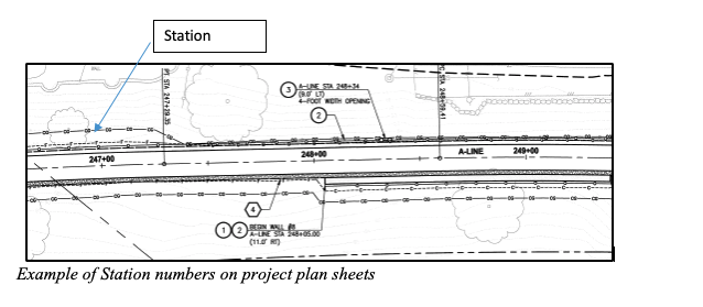 Example of stations on design plans