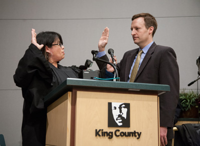 Being sworn-in as a King County Councilmember
