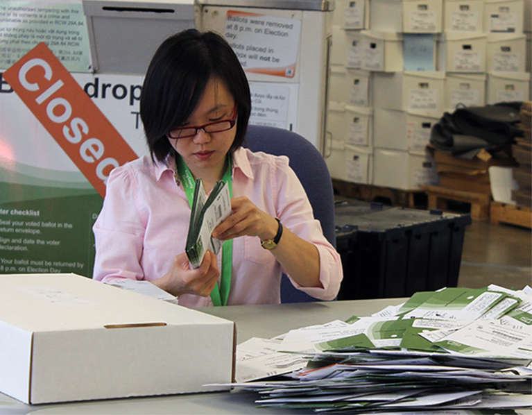 Elections worker organizes incoming ballots.