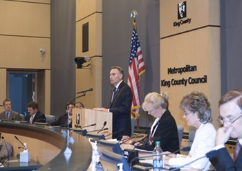 County Executive Dow Constantine delivers 2012 county budget to the Council