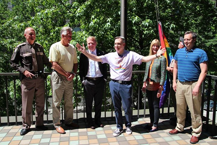 Raising the rainbow flag in support of marriage equality
