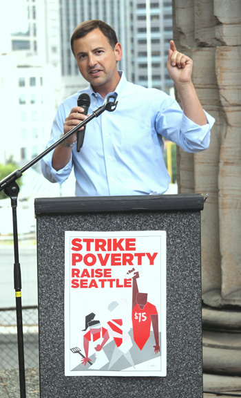Rod speaking about income inequality in King County.
