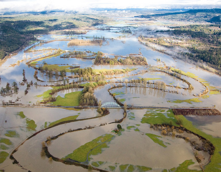 Aerial photo of Snoqualmie Valley flooding.