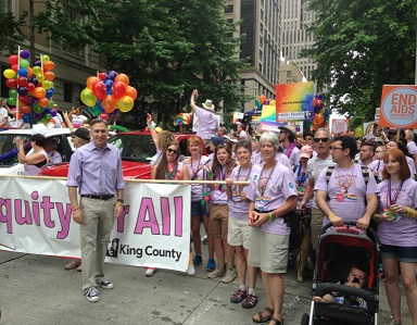 King County staff at the Pride Parade in Seattle.