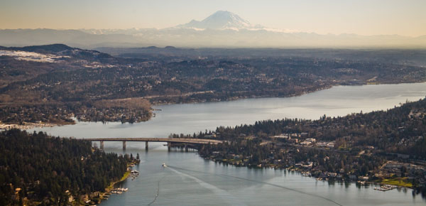 Lake Washington and Mount Rainier.