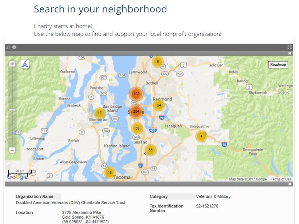 Find a nonprofit organization King County