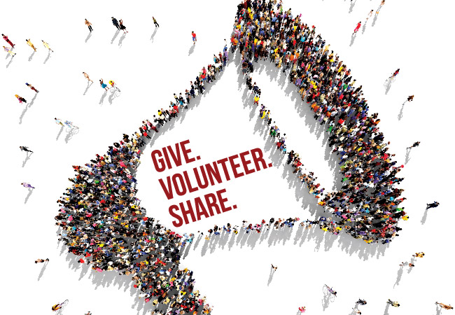 A graphic reading 'give, volunteer, share'.