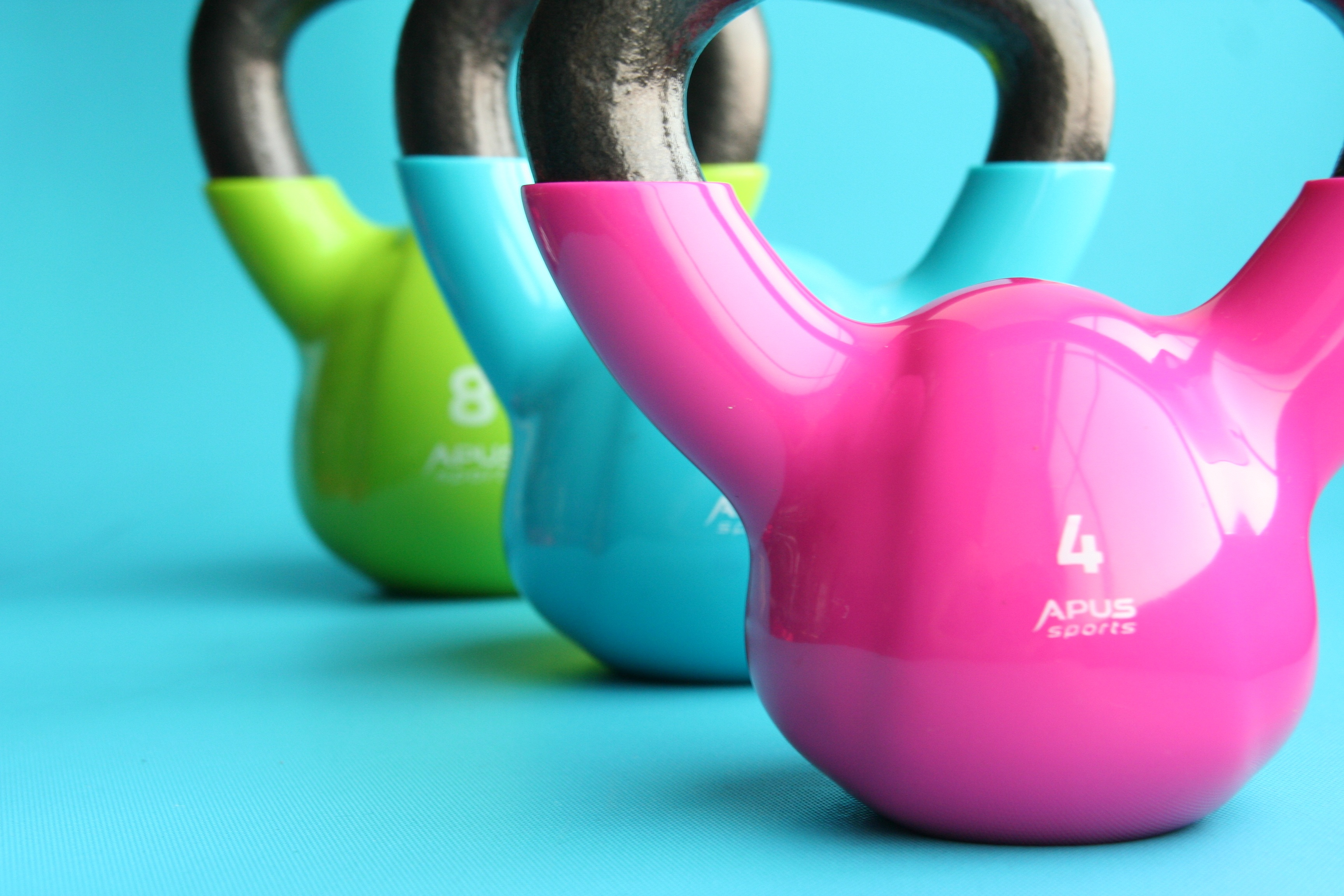 colorful dumbbell weights in a line