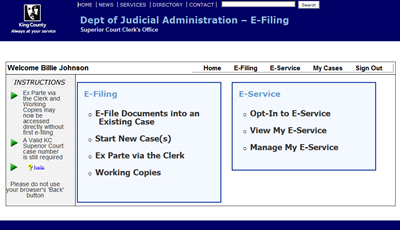 Electronic Filing - King County