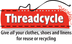 Threadcycle logo - give all your clothes, shoes and linens for reuse or recycling