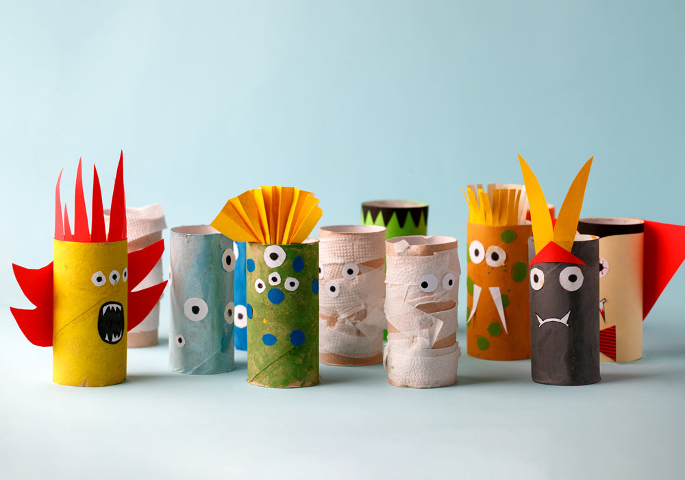 image of Halloween monsters made out of empty tissue paper rolls