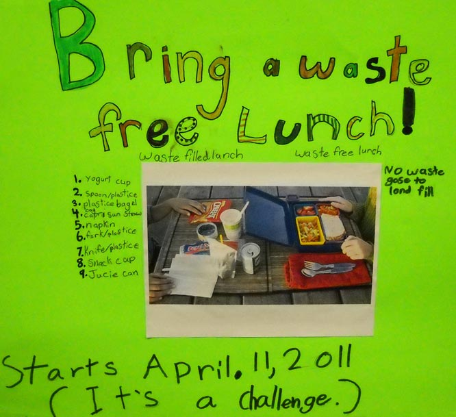 The Glacier Park Elementary Green Team encourages students to pack waste-free lunches as a way to reduce the amount of garbage at school