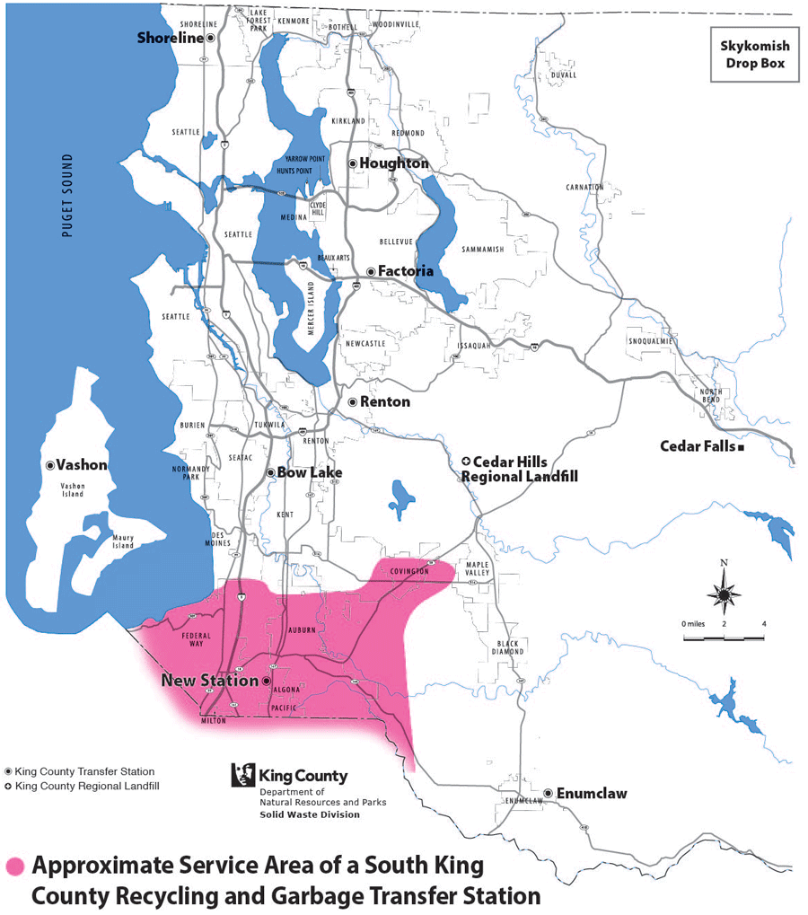 Approximate service area of South King County Recycling and Transfer Station
