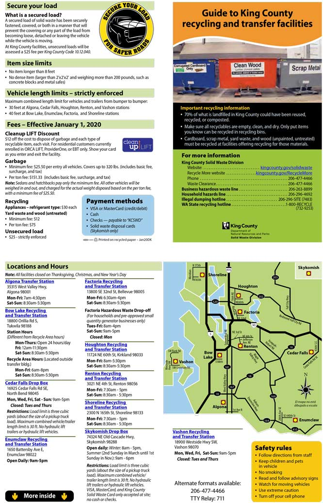Your Guide to King County Solid Waste Recycling and Transfer Facilities