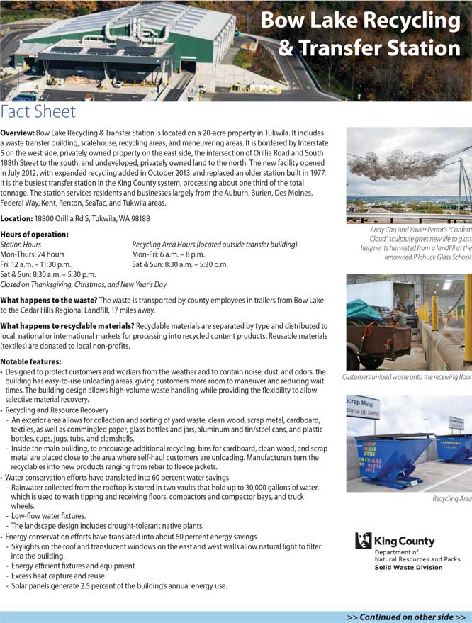 Fact sheet for Bow Lake Recycling & Transfer Station